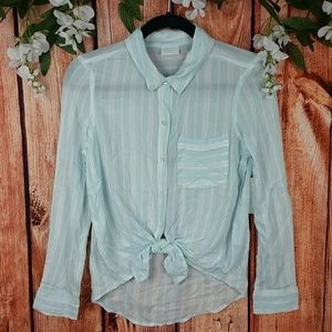 NWT Abound Button Up Tie Front Blouse